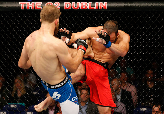 DUBLIN, IRELAND - JULY 19:  (L-R) Tor Troeng kicks Trevor Smith in their middleweight bout during the UFC Fight Night event at The O2 Dublin on July 19, 2014 in Dublin, Ireland.  (Photo by Josh Hedges/Zuffa LLC/Zuffa LLC via Getty Images)