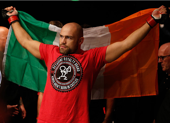 DUBLIN, IRELAND - JULY 19:  Cathal Pendred of Dublin enters the arena before his middleweight bout against Mike King during the UFC Fight Night event at The O2 Dublin on July 19, 2014 in Dublin, Ireland.  (Photo by Josh Hedges/Zuffa LLC/Zuffa LLC via Getty Images)