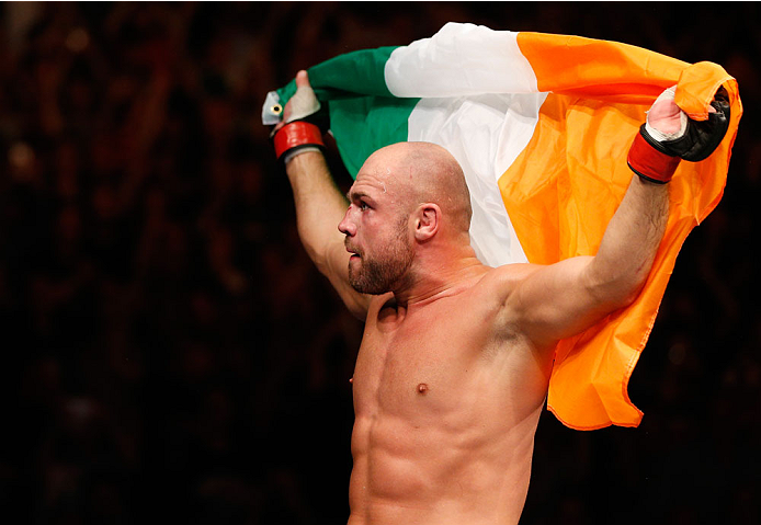 DUBLIN, IRELAND - JULY 19:  Cathal Pendred celebrates after his submission victory over Mike King in their middleweight bout during the UFC Fight Night event at The O2 Dublin on July 19, 2014 in Dublin, Ireland.  (Photo by Josh Hedges/Zuffa LLC/Zuffa LLC via Getty Images)