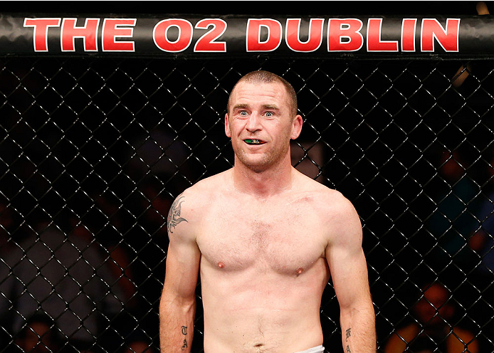 DUBLIN, IRELAND - JULY 19:  Neil Seery is seen in the Octagon before the start of the third round of his flyweight bout against Phil Harris during the UFC Fight Night event at The O2 Dublin on July 19, 2014 in Dublin, Ireland.  (Photo by Josh Hedges/Zuffa LLC/Zuffa LLC via Getty Images)