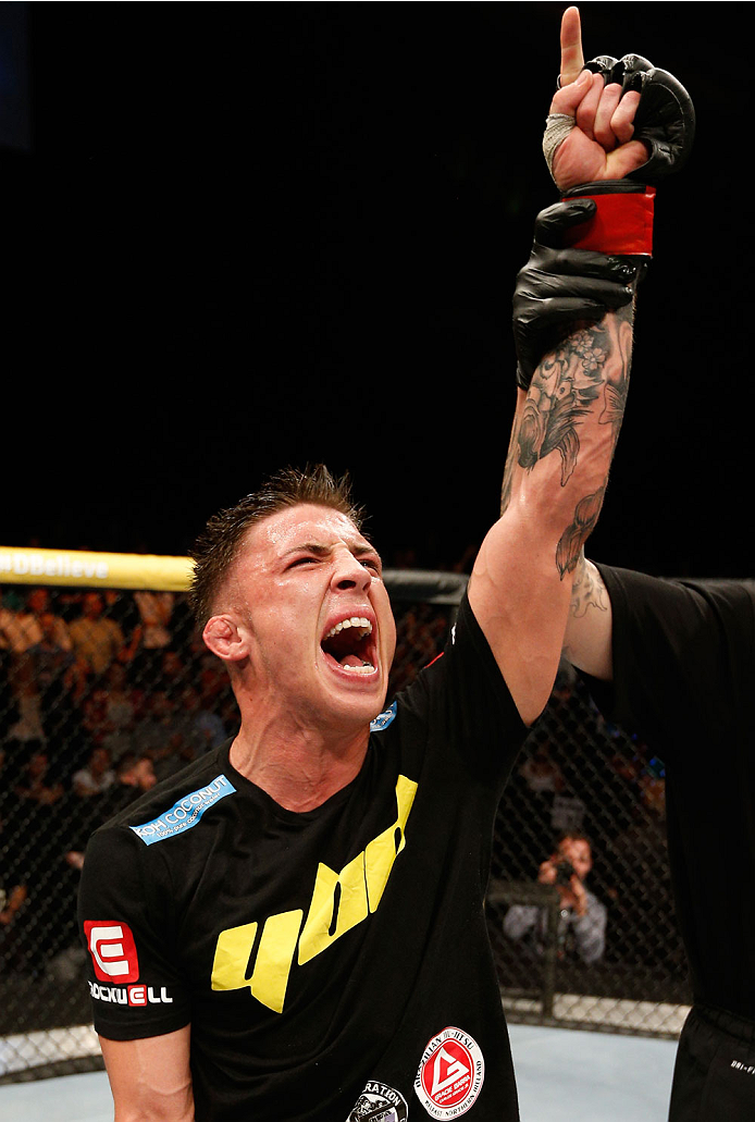 DUBLIN, IRELAND - JULY 19:  Norman Parke celebrates after his TKO victory over Naoyuki Kotani in their lightweight bout during the UFC Fight Night event at The O2 Dublin on July 19, 2014 in Dublin, Ireland.  (Photo by Josh Hedges/Zuffa LLC/Zuffa LLC via Getty Images)