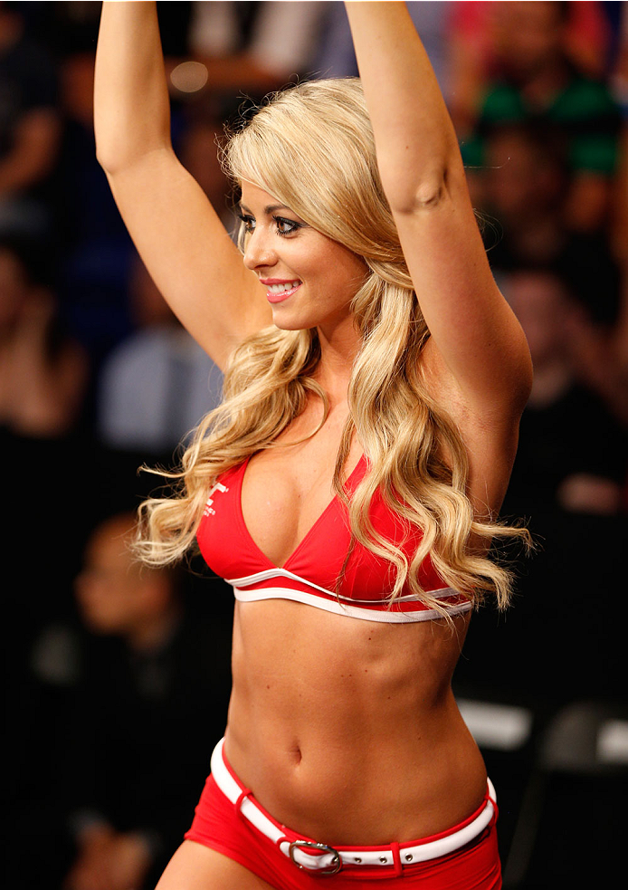 DUBLIN, IRELAND - JULY 19:  UFC Octagon Girl Carly Baker introduces a round during the UFC Fight Night event at The O2 Dublin on July 19, 2014 in Dublin, Ireland.  (Photo by Josh Hedges/Zuffa LLC/Zuffa LLC via Getty Images)