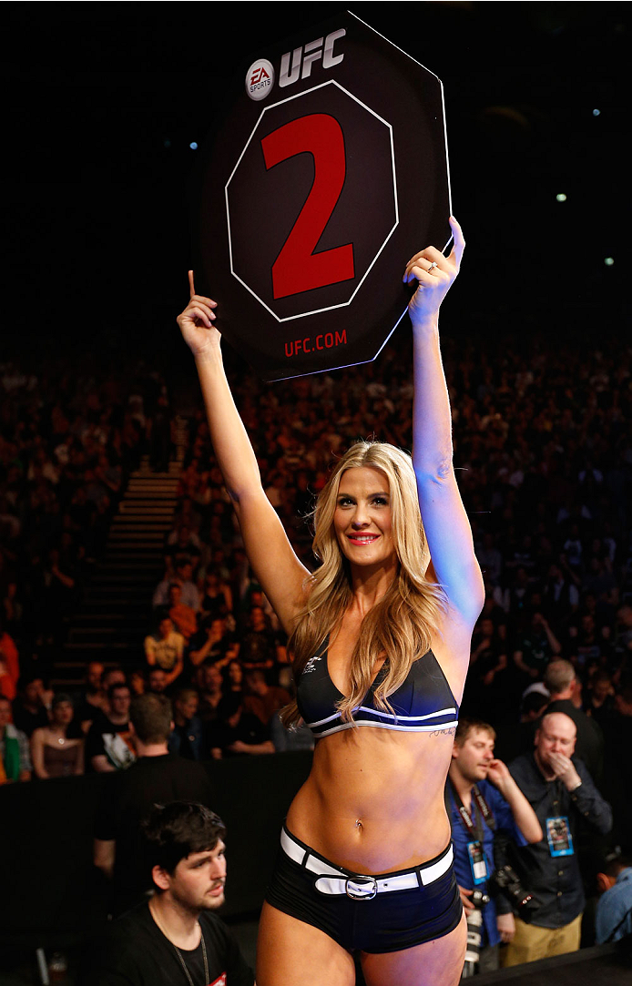DUBLIN, IRELAND - JULY 19:  UFC Octagon Girl Kristie McKeon introduces a round during the UFC Fight Night event at The O2 Dublin on July 19, 2014 in Dublin, Ireland.  (Photo by Josh Hedges/Zuffa LLC/Zuffa LLC via Getty Images)
