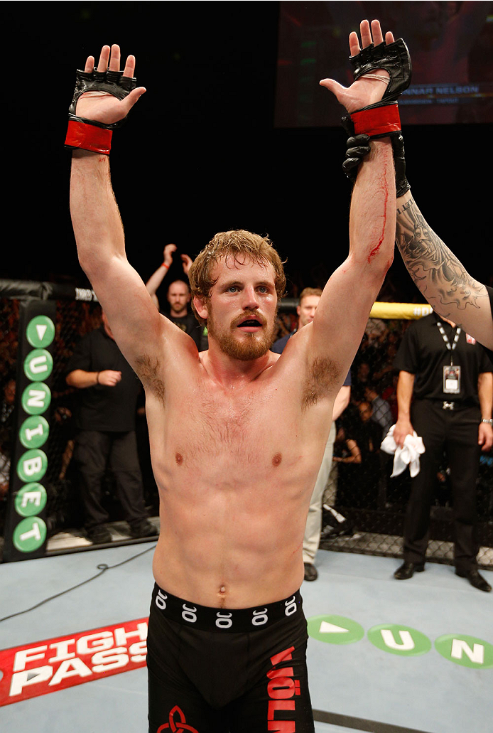 DUBLIN, IRELAND - JULY 19:  Gunnar Nelson celebrates after his submission victory over Zak Cummings in their welterweight bout during the UFC Fight Night event at The O2 Dublin on July 19, 2014 in Dublin, Ireland.  (Photo by Josh Hedges/Zuffa LLC/Zuffa LLC via Getty Images)