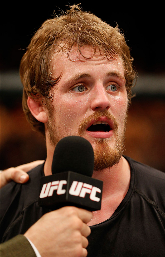 DUBLIN, IRELAND - JULY 19:  Gunnar Nelson is interviewed by Dan Hardy after his submission victory over Zak Cummings in their welterweight bout during the UFC Fight Night event at The O2 Dublin on July 19, 2014 in Dublin, Ireland.  (Photo by Josh Hedges/Zuffa LLC/Zuffa LLC via Getty Images)