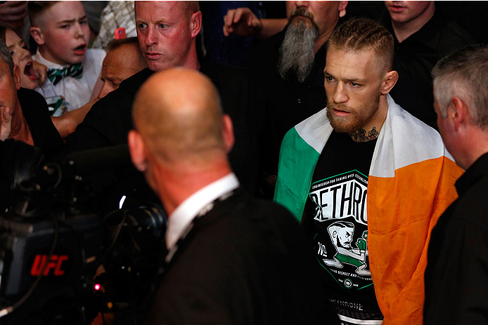 DUBLIN, IRELAND - JULY 19:  Conor McGregor enters the arena before his featherweight bout against Diego Brandao during the UFC Fight Night event at The O2 Dublin on July 19, 2014 in Dublin, Ireland.  (Photo by Josh Hedges/Zuffa LLC/Zuffa LLC via Getty Images)