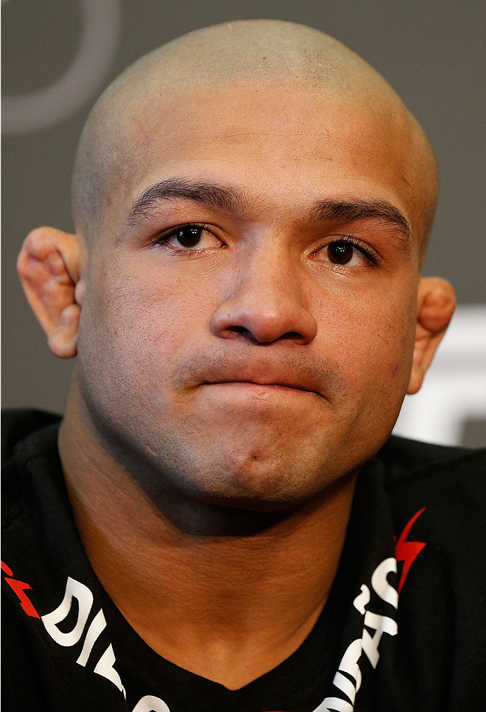 DUBLIN, IRELAND - JULY 16:  Diego Brandao interacts with media at a press conference during the UFC media day at Royal Hospital Kilmainham on July 16, 2014 in Dublin, Ireland. (Photo by Josh Hedges/Zuffa LLC/Zuffa LLC via Getty Images)