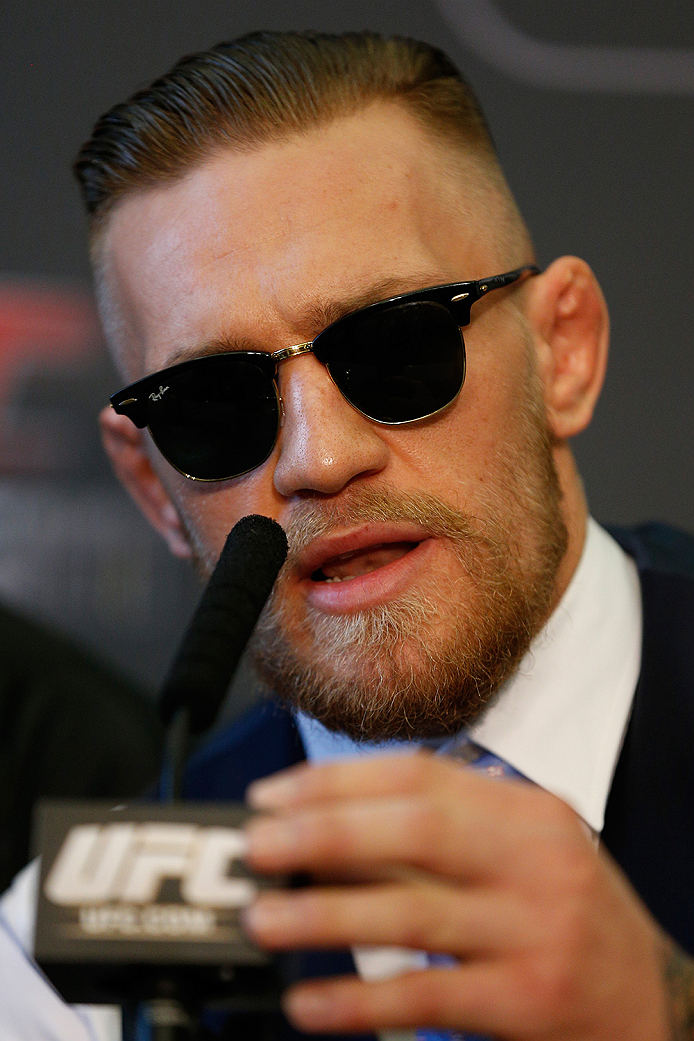 DUBLIN, IRELAND - JULY 16:  Conor McGregor of Ireland interacts with media at a press conference during the UFC media day at Royal Hospital Kilmainham on July 16, 2014 in Dublin, Ireland. (Photo by Josh Hedges/Zuffa LLC/Zuffa LLC via Getty Images)