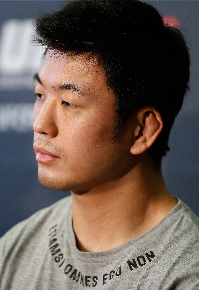 DUBLIN, IRELAND - JULY 16:  Naoyuki Kotani interacts with media at a press conference during the UFC media day at Royal Hospital Kilmainham on July 16, 2014 in Dublin, Ireland. (Photo by Josh Hedges/Zuffa LLC/Zuffa LLC via Getty Images)