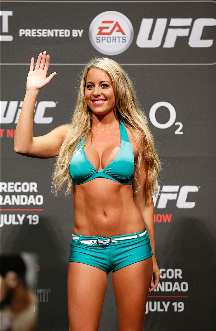 DUBLIN, IRELAND - JULY 18:  UFC Octagon Girl Carly Baker stands on stage during the UFC weigh-in event at The O2 on July 18, 2014 in Dublin, Ireland.  (Photo by Josh Hedges/Zuffa LLC/Zuffa LLC via Getty Images)