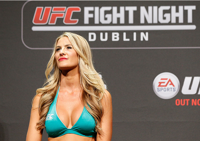 DUBLIN, IRELAND - JULY 18:  UFC Octagon Girl Kristie McKeon stands on stage during the UFC weigh-in event at The O2 on July 18, 2014 in Dublin, Ireland.  (Photo by Josh Hedges/Zuffa LLC/Zuffa LLC via Getty Images)