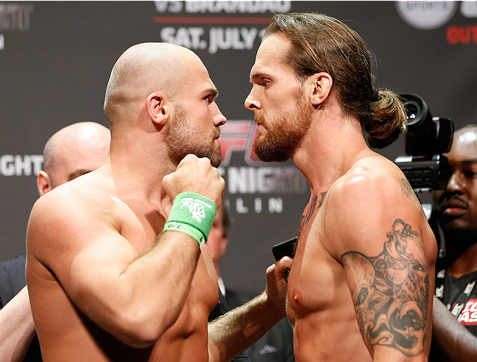 DUBLIN, IRELAND - JULY 18:  (L-R) Opponents Cathal Pendred and Mike King face off during the UFC weigh-in event at The O2 on July 18, 2014 in Dublin, Ireland.  (Photo by Josh Hedges/Zuffa LLC/Zuffa LLC via Getty Images)