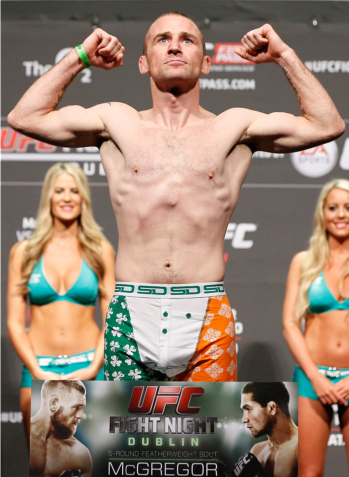 DUBLIN, IRELAND - JULY 18:  Neil Seery poses on the scale after weighing in during the UFC weigh-in event at The O2 on July 18, 2014 in Dublin, Ireland.  (Photo by Josh Hedges/Zuffa LLC/Zuffa LLC via Getty Images)