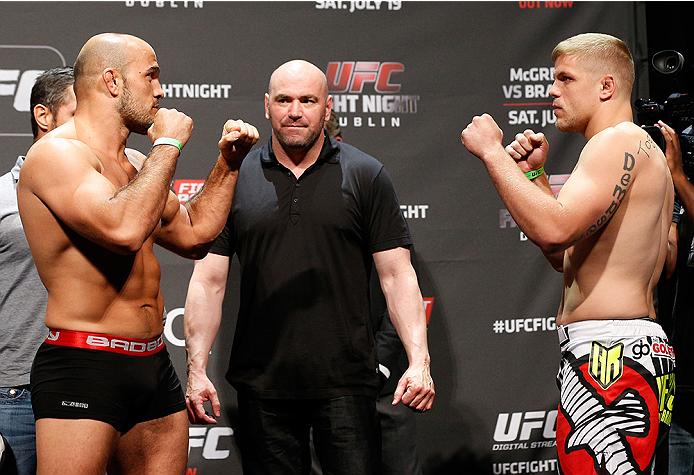 DUBLIN, IRELAND - JULY 18:  (L-R) Opponents Ilir Latifi and Chris Dempsey face off during the UFC weigh-in event at The O2 on July 18, 2014 in Dublin, Ireland.  (Photo by Josh Hedges/Zuffa LLC/Zuffa LLC via Getty Images)