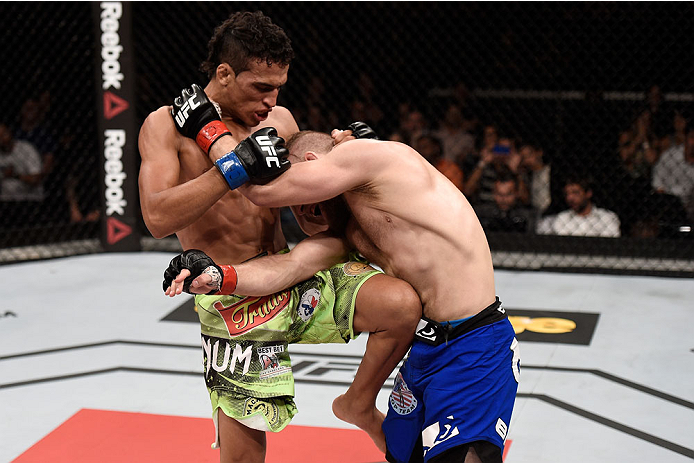 Charles Oliveira kicks Nick Lentz of the United States in their bout during the UFC Fight Night event on May 30, 2015 in Goiania, Brazil. (Photo by Buda Mendes/Zuffa LLC)