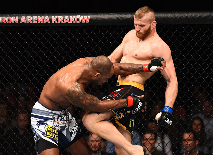 Jan Blachowicz knees Jimi Manuwa in their fight during the UFC Fight Night event on April 11, 2015 in Krakow, Poland. (Photo by Jeff Bottari/Zuffa LLC)
