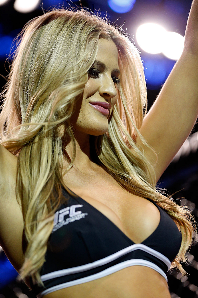 LONDON, ENGLAND - MARCH 08:  UFC Octagon Girl Kristie McKeon introduces a round during the UFC Fight Night London event at the O2 Arena on March 8, 2014 in London, England. (Photo by Josh Hedges/Zuffa LLC/Zuffa LLC via Getty Images)
