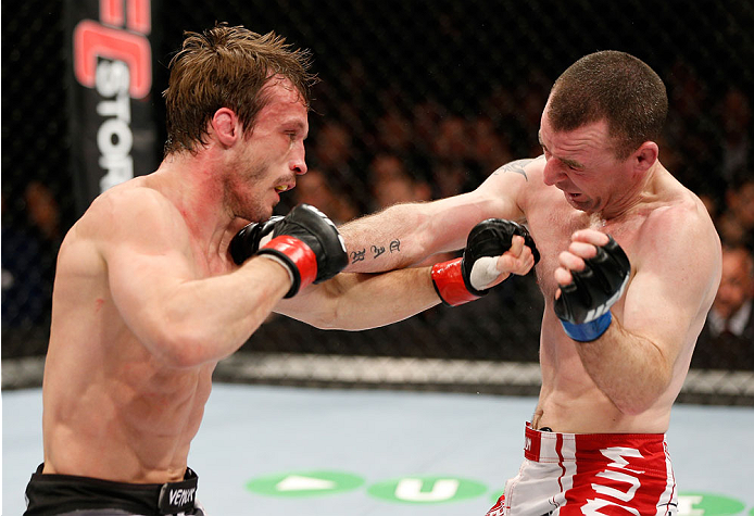 LONDON, ENGLAND - MARCH 08:  (L-R) Brad Pickett and Neil Seery trade punches in their flyweight fight during the UFC Fight Night London event at the O2 Arena on March 8, 2014 in London, England. (Photo by Josh Hedges/Zuffa LLC/Zuffa LLC via Getty Images)