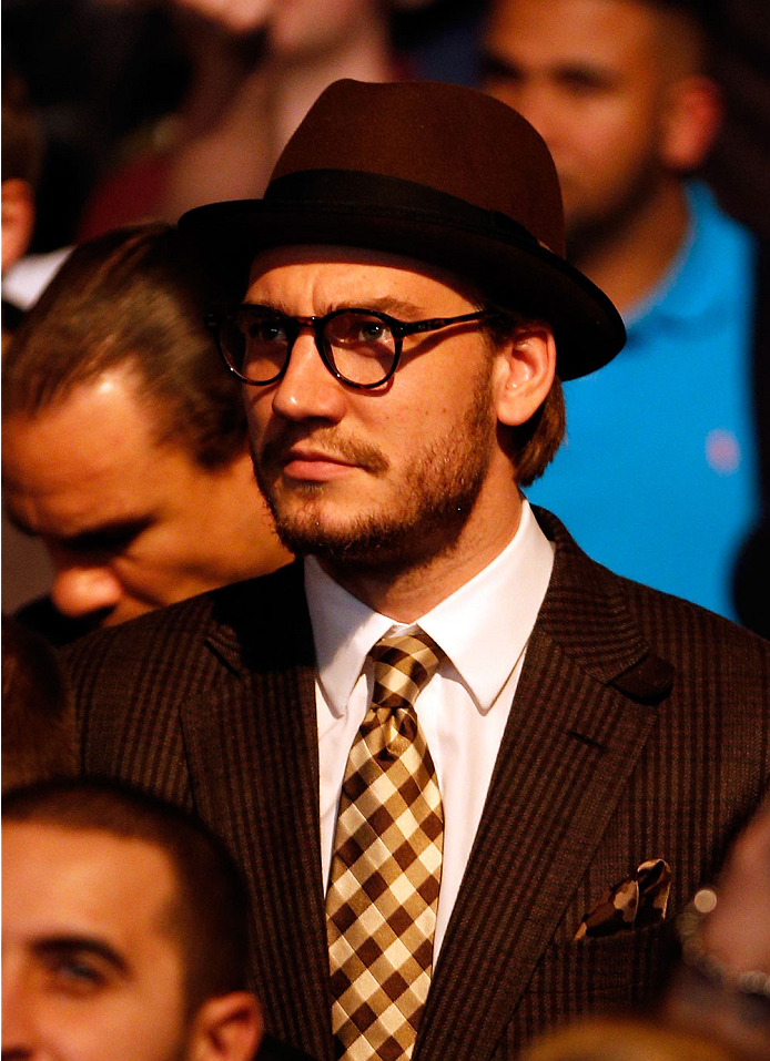 LONDON, ENGLAND - MARCH 08:  Arsenal footballer Nicklas Bendtner is seen in attendance during the UFC Fight Night London event at the O2 Arena on March 8, 2014 in London, England. (Photo by Josh Hedges/Zuffa LLC/Zuffa LLC via Getty Images)
