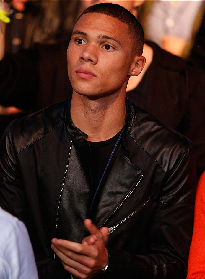 LONDON, ENGLAND - MARCH 08:  Arsenal footballer Kieran Gibbs is seen in attendance during the UFC Fight Night London event at the O2 Arena on March 8, 2014 in London, England. (Photo by Josh Hedges/Zuffa LLC/Zuffa LLC via Getty Images)