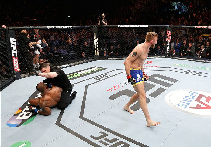 LONDON, ENGLAND - MARCH 08:  Alexander Gustafsson reacts after his TKO victory over Jimi Manuwa in their light heavyweight fight during the UFC Fight Night London event at the O2 Arena on March 8, 2014 in London, England. (Photo by Josh Hedges/Zuffa LLC/Zuffa LLC via Getty Images)