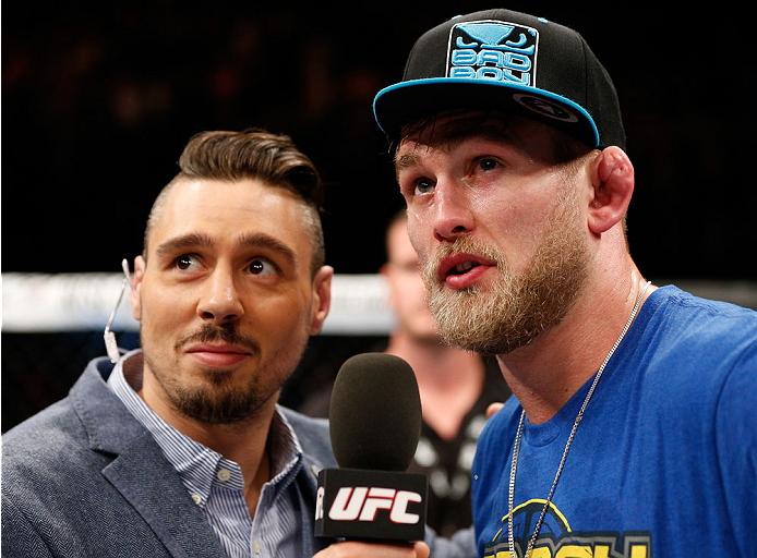 LONDON, ENGLAND - MARCH 08:  Alexander Gustafsson (R) is interviewed by Dan Hardy after his TKO victory over Jimi Manuwa in their light heavyweight fight during the UFC Fight Night London event at the O2 Arena on March 8, 2014 in London, England. (Photo by Josh Hedges/Zuffa LLC/Zuffa LLC via Getty Images)