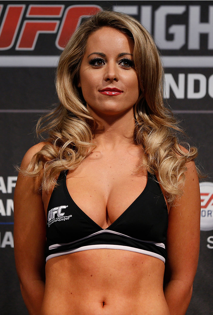 LONDON, ENGLAND - MARCH 07:  UFC Octagon Girl Carly Baker stands on stage during the UFC weigh-in event at the O2 Arena on March 7, 2014 in London, England. (Photo by Josh Hedges/Zuffa LLC/Zuffa LLC via Getty Images)