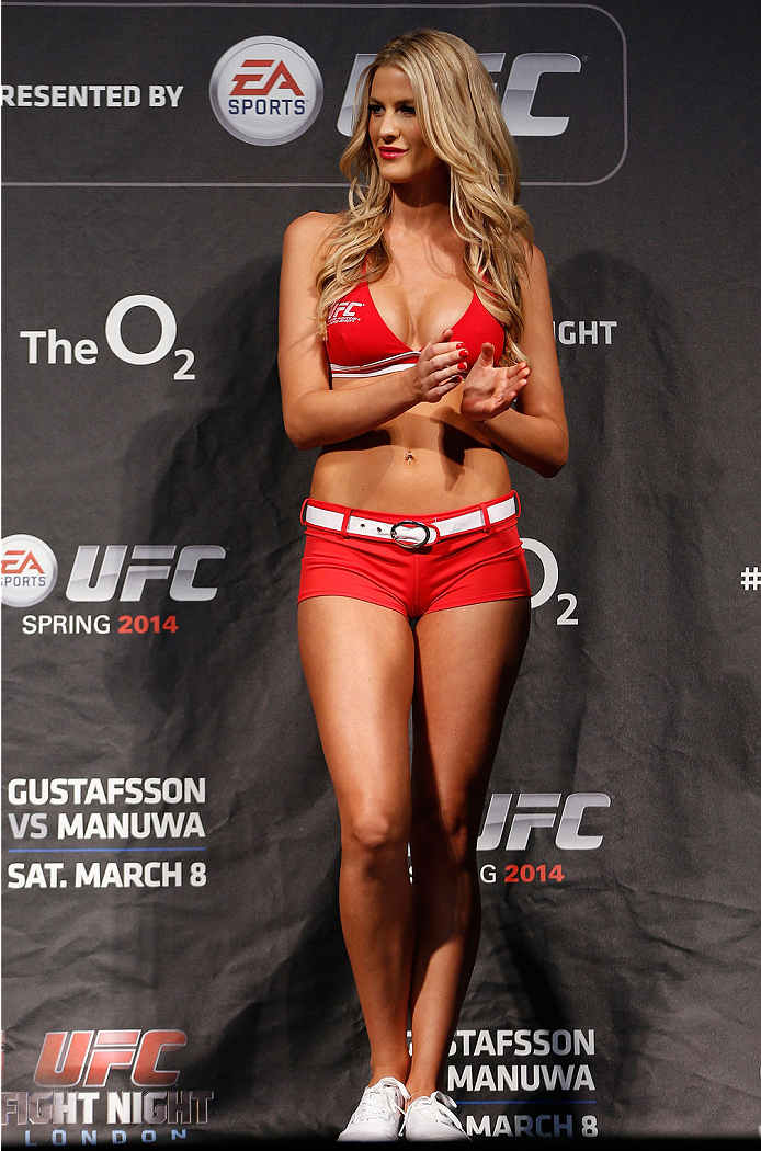 LONDON, ENGLAND - MARCH 07:  UFC Octagon Girl Kristie McKeon stands on stage during the UFC weigh-in event at the O2 Arena on March 7, 2014 in London, England. (Photo by Josh Hedges/Zuffa LLC/Zuffa LLC via Getty Images)