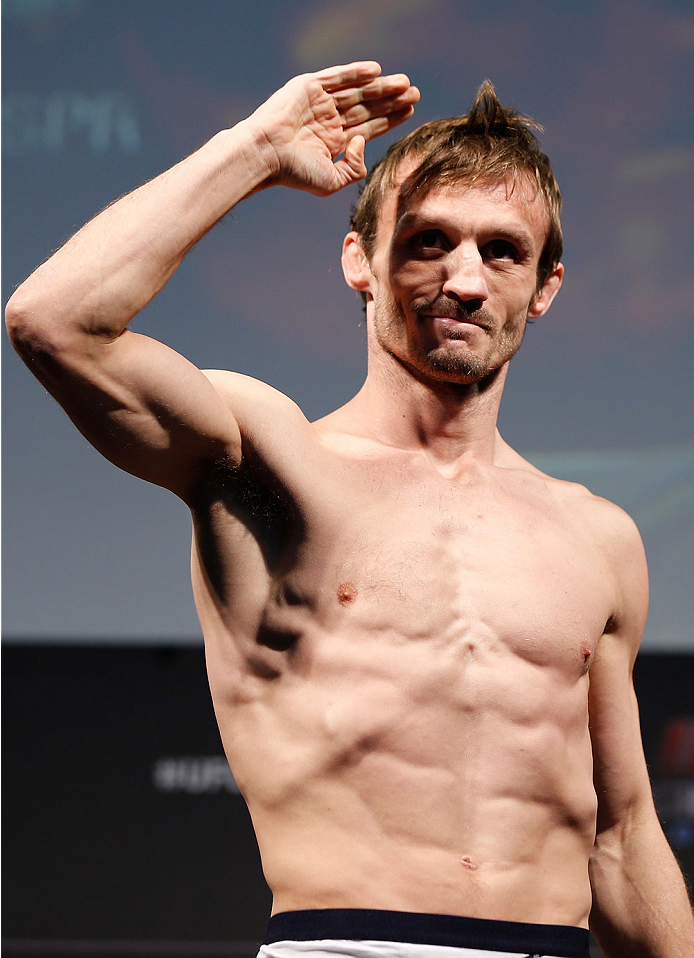 LONDON, ENGLAND - MARCH 07:  Brad Pickett weighs in during the UFC weigh-in event at the O2 Arena on March 7, 2014 in London, England. (Photo by Josh Hedges/Zuffa LLC/Zuffa LLC via Getty Images)