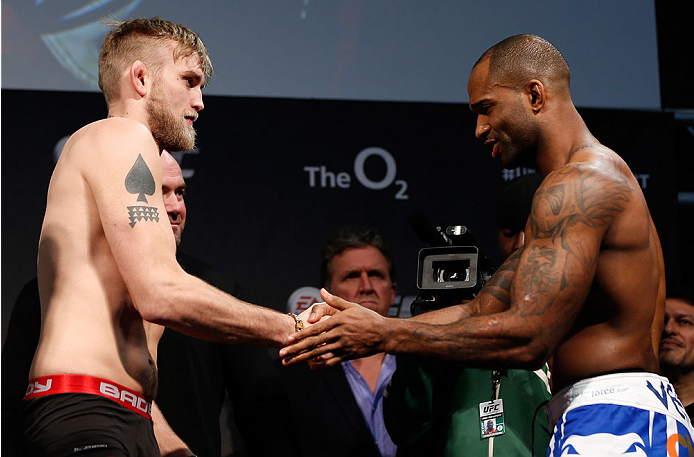 LONDON, ENGLAND - MARCH 07:  (L-R) Opponents Alexander Gustafsson and Jimi Manuwa shake hands during the UFC weigh-in event at the O2 Arena on March 7, 2014 in London, England. (Photo by Josh Hedges/Zuffa LLC/Zuffa LLC via Getty Images)