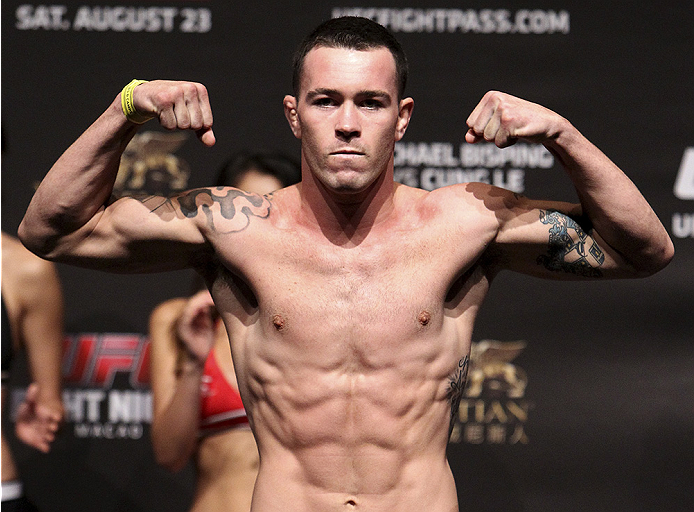 MACAU - AUGUST 22:  Colby Covington during the UFC weigh-in event at the Venetian Macau on August 22, 2014 in Macau, Macau.. (Photo by Mitch Viquez/Zuffa LLC/Zuffa LLC via Getty Images)