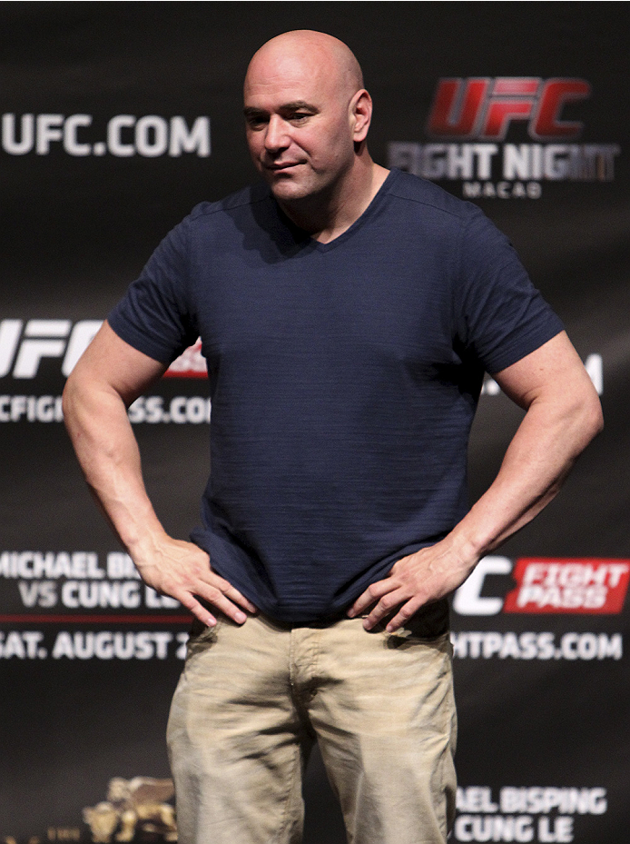 MACAU - AUGUST 22:  Dana White during the UFC weigh-in event at the Venetian Macau on August 22, 2014 in Macau, Macau.. (Photo by Mitch Viquez/Zuffa LLC/Zuffa LLC via Getty Images)