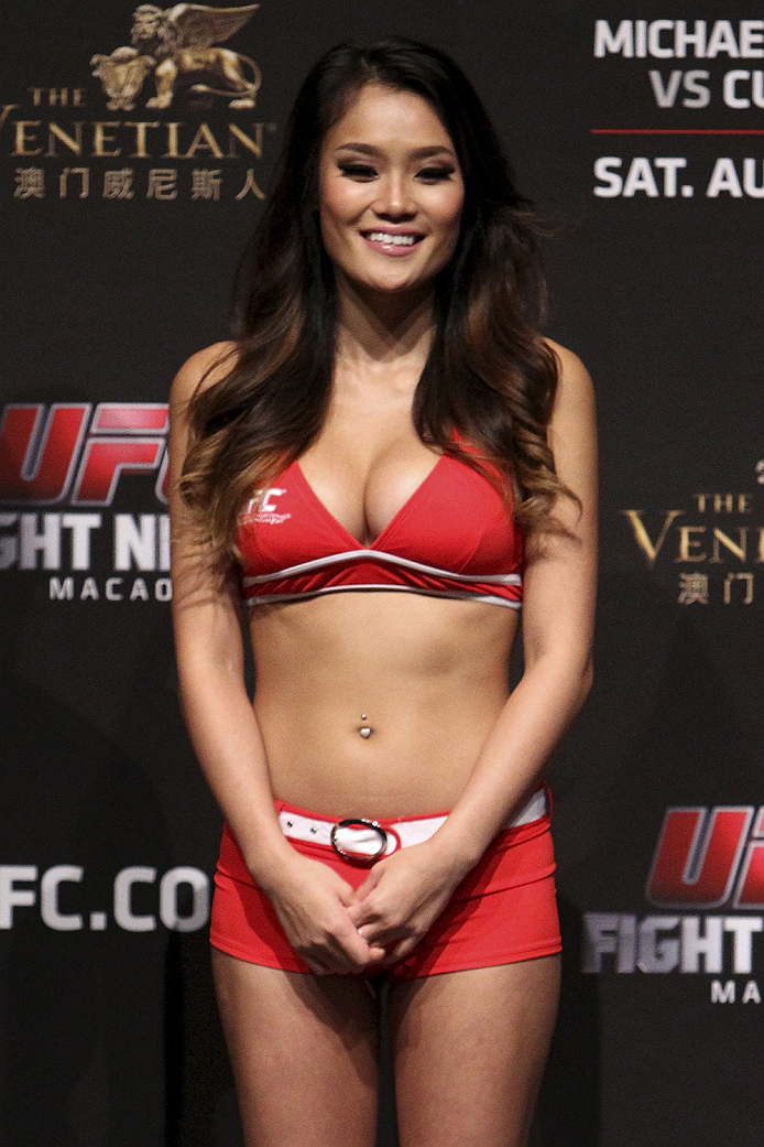 MACAU - AUGUST 22: Jennifer Nguyen during the UFC weigh-in event at the Venetian Macau on August 22, 2014 in Macau, Macau.. (Photo by Mitch Viquez/Zuffa LLC/Zuffa LLC via Getty Images)