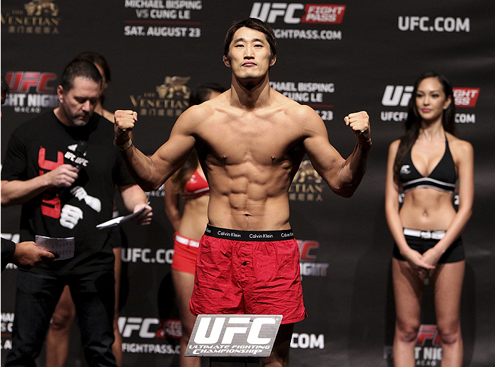 MACAU - AUGUST 22:  Dong Hyun Kim during the UFC weigh-in event at the Venetian Macau on August 22, 2014 in Macau, Macau.. (Photo by Mitch Viquez/Zuffa LLC/Zuffa LLC via Getty Images)