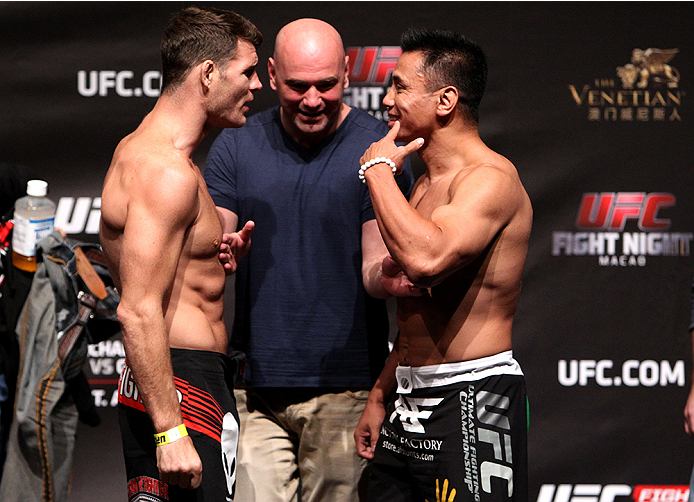 MACAU - AUGUST 22:  (L and R) Michael Bisping and Cung Le during the UFC weigh-in event at the Venetian Macau on August 22, 2014 in Macau, Macau.. (Photo by Mitch Viquez/Zuffa LLC/Zuffa LLC via Getty Images)
