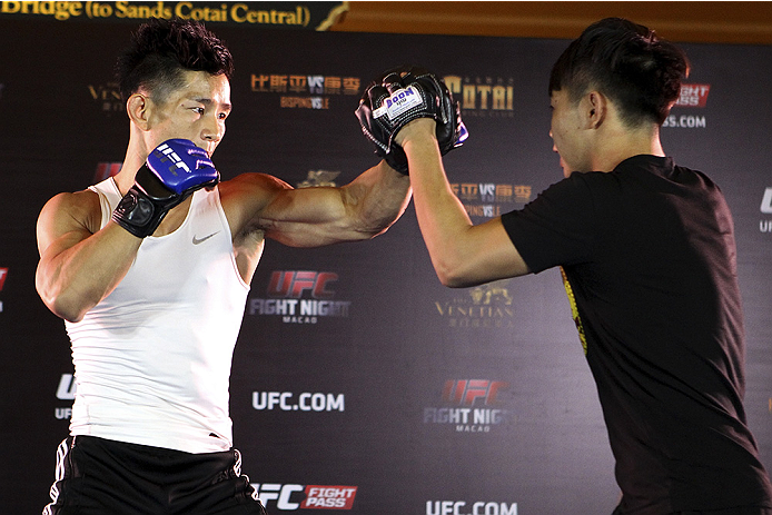 MACAU - AUGUST 21:  Yang Jianping during the UFC open workouts at the Venetian Macau on August 21, 2014 in Macau. (Photo by Mitch Viquez/Zuffa LLC/Zuffa LLC via Getty Images)