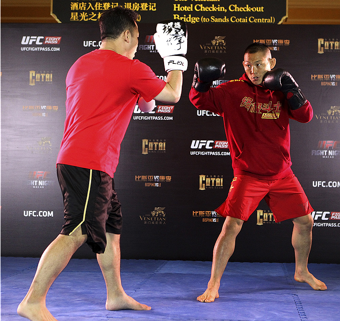 MACAU - AUGUST 21:  Ning Guangyou during the UFC open workouts at the Venetian Macau on August 21, 2014 in Macau. (Photo by Mitch Viquez/Zuffa LLC/Zuffa LLC via Getty Images)