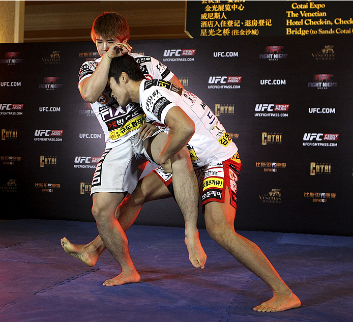 MACAU - AUGUST 21:  Dong Hyun Kim during the UFC open workouts at the Venetian Macau on August 21, 2014 in Macau. (Photo by Mitch Viquez/Zuffa LLC/Zuffa LLC via Getty Images)