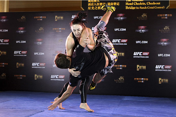 MACAU - AUGUST 21:  Milana Dudieva during the UFC open workouts at the Venetian Macau on August 21, 2014 in Macau. (Photo by Mitch Viquez/Zuffa LLC/Zuffa LLC via Getty Images)