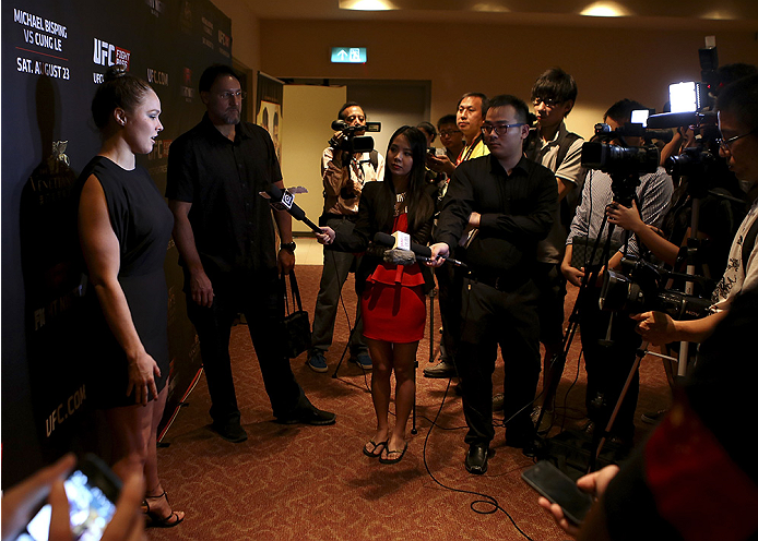 MACAU - AUGUST 22:  Ronda Rousey during a media scrum before the UFC weigh-in event at the Venetian Macau on August 22, 2014 in Macau. (Photo by Mitch Viquez/Zuffa LLC/Zuffa LLC via Getty Images)