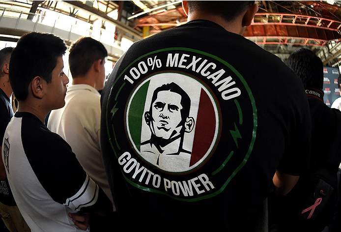 MONTERREY, MEXICO - NOVEMBER 18:  A detail shot of a shirt supporting Erik Perez at the open workout for fans and media at Nave Lewis-Parque Fundidora on November 18, 2015 in Monterrey, Mexico. (Photo by Jeff Bottari/Zuffa LLC/Zuffa LLC via Getty Images)