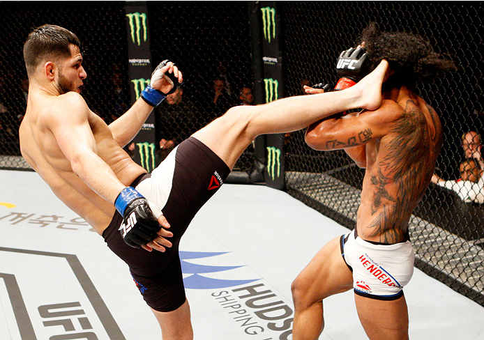 SEOUL, SOUTH KOREA - NOVEMBER 28: Jorge Masvidal of the United States of America throws a kick at Jorge Masvidal of the United States of America in their welterweight bout during the UFC Fight Night at the Olympic Park Gymnastics Arena on November 28, 2015 in Seoul, South Korea. (Photo by Mitch Viquez/Zuffa LLC/Zuffa LLC via Getty Images)