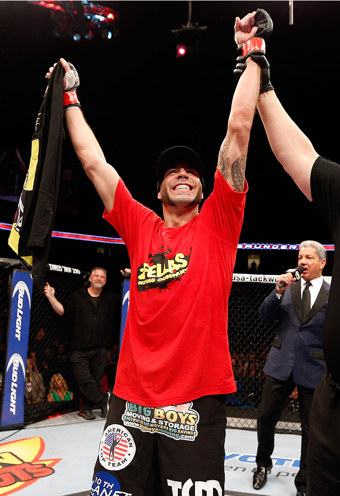 TULSA, OK - AUGUST 23: Ben Saunders celebrates after his submission victory over Chris Heatherly in their welterweight fight during the UFC Fight Night event at the BOK Center on August 23, 2014 in Tulsa, Oklahoma. (Photo by Josh Hedges/Zuffa LLC/Zuffa LLC via Getty Images)