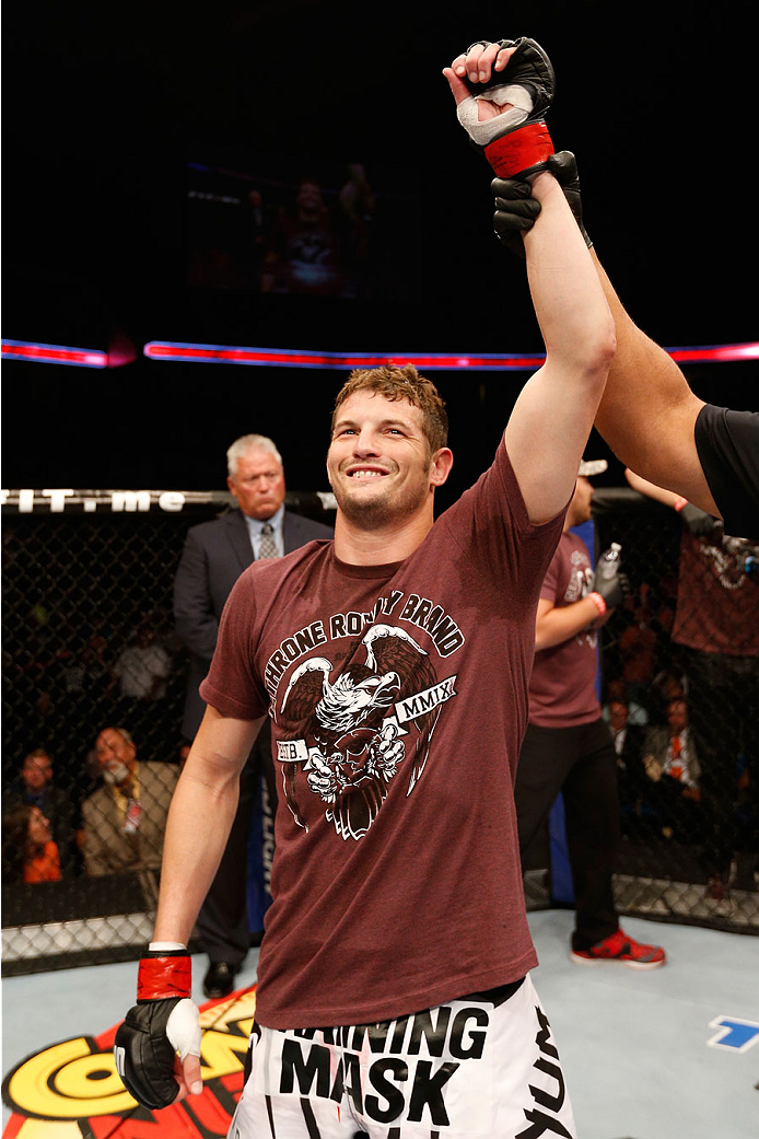 TULSA, OK - AUGUST 23: Chas Skelly celebrates after his submission victory over Tom Niinimaki of Finland in their featherweight fight during the UFC Fight Night event at the BOK Center on August 23, 2014 in Tulsa, Oklahoma. (Photo by Josh Hedges/Zuffa LLC/Zuffa LLC via Getty Images)