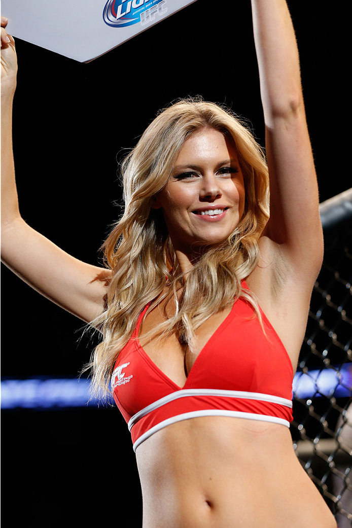 TULSA, OK - AUGUST 23:  UFC Octagon Girl Chrissy Blair introduces a round during the UFC Fight Night event at the BOK Center on August 23, 2014 in Tulsa, Oklahoma. (Photo by Josh Hedges/Zuffa LLC/Zuffa LLC via Getty Images)