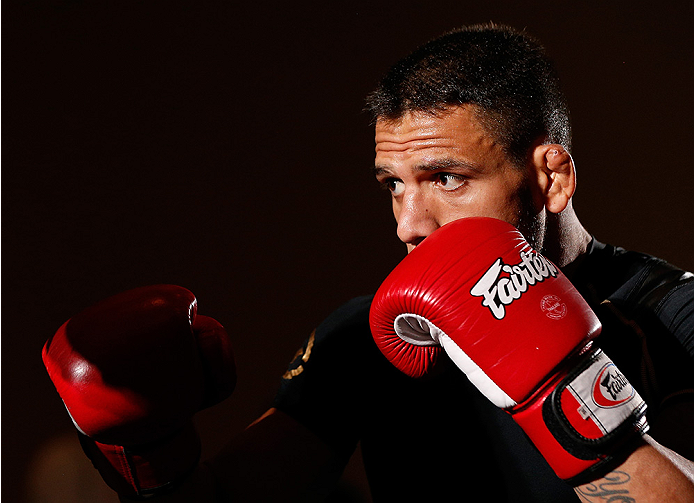 TULSA, OK - AUGUST 21: Rafael dos Anjos of Brazil holds an open training session for media and fans at the Hyatt Regency Hotel on August 21, 2014 in Tulsa, Oklahoma. (Photo by Josh Hedges/Zuffa LLC/Zuffa LLC via Getty Images)