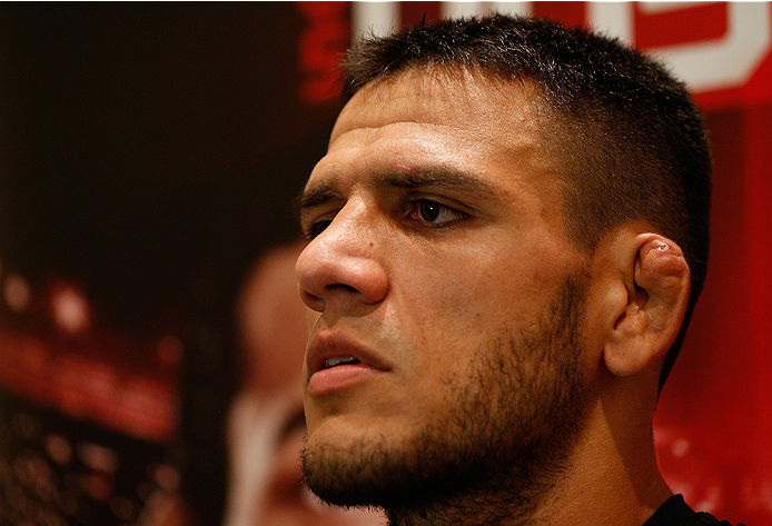 TULSA, OK - AUGUST 21: Rafael dos Anjos of Brazil interacts with media after an open training session at the Hyatt Regency Hotel on August 21, 2014 in Tulsa, Oklahoma. (Photo by Josh Hedges/Zuffa LLC/Zuffa LLC via Getty Images)