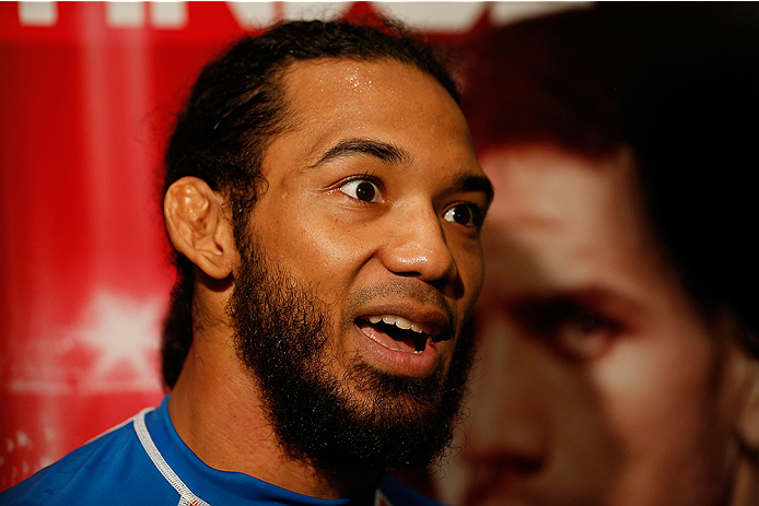 TULSA, OK - AUGUST 21: Benson Henderson interacts with media after an open training session at the Hyatt Regency Hotel on August 21, 2014 in Tulsa, Oklahoma. (Photo by Josh Hedges/Zuffa LLC/Zuffa LLC via Getty Images)