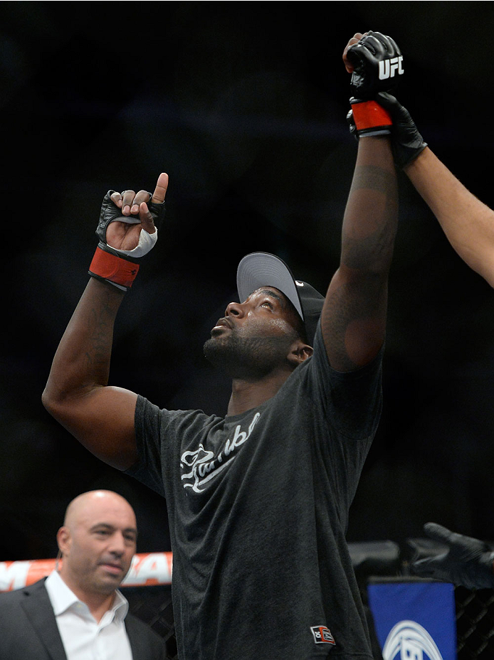 SAN JOSE, CA - JULY 26: Anthony ''Rumble'' Johnson celebrates after defeating Antonio Rogerio Nogueira in their light heavyweight bout during the UFC Fight Night event at the SAP Center on July 26, 2014 in San Jose, California. (Photo by Jeff Bottari/Zuffa LLC/Zuffa LLC via Getty Images)