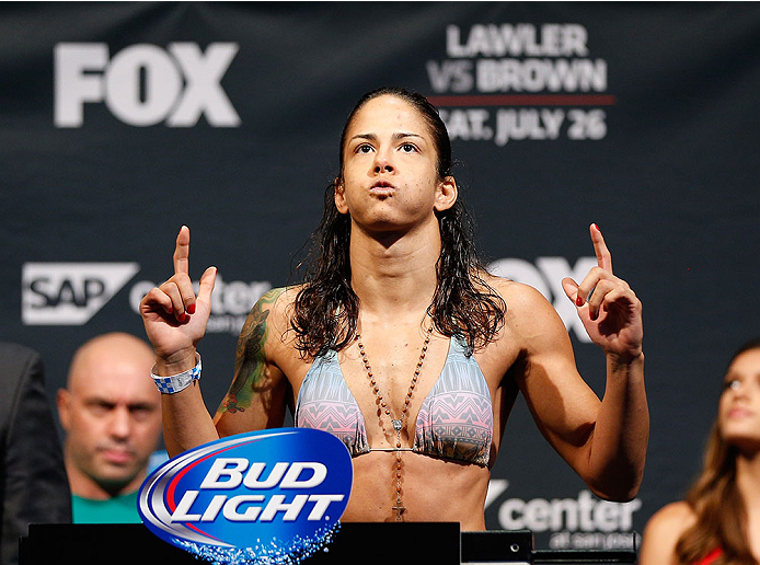 SAN JOSE, CA - JULY 25:  Juliana Lima stands on the scale in her first attempt to make weight during the UFC fight night weigh-in at the SAP Center on July 25, 2014 in San Jose, California.  Lima would eventually fail to make weight a second time, weighing 116.5 pounds.  (Photo by Josh Hedges/Zuffa LLC/Zuffa LLC via Getty Images)